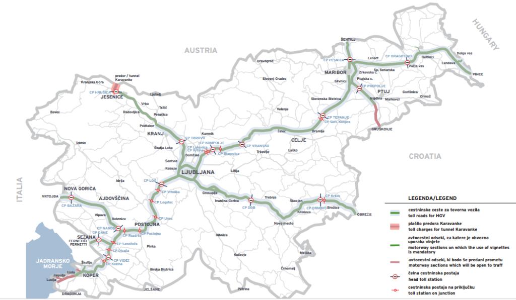 mapa płatnych dróg w słowenii